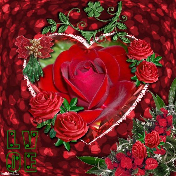 RED GREEN HEART WIYH ROSES Maria Elena: