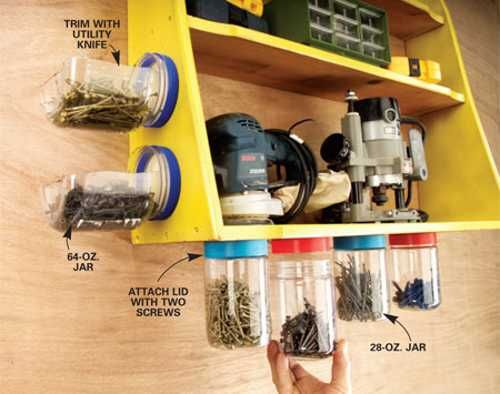 Repurpose plastic jars for storage bins. #organize