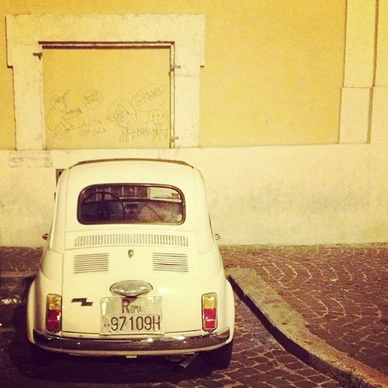 White Fiat 500 in Rome. Photo by rick2912.