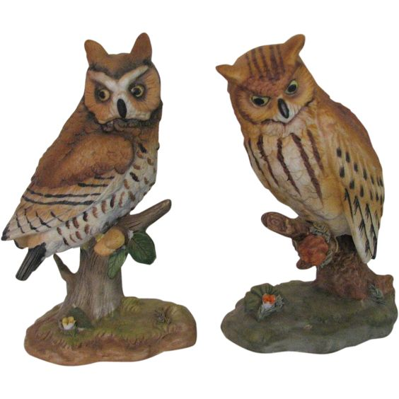 Vintage Owls Enesco Figurines.