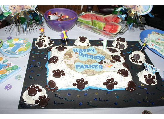 Parker's 1st birthday cake.  We had a puppy themed party with a paw print cake.  Paw prints are made with peppermint patties & junior mints.