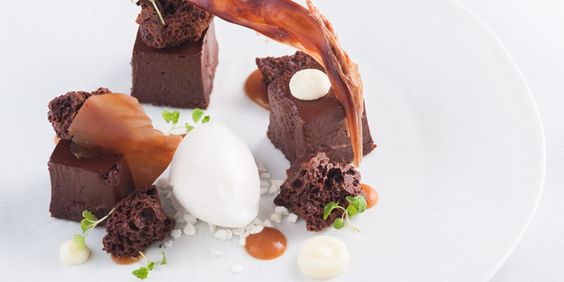 A chocolate aero dessert recipe from chef Matt Worswick, served with a yoghurt sorbet, chocolate mousse and salted caramel.