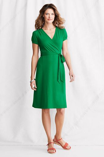 DRESSES: Women&39s Short Sleeve Cotton Modal Wrap Dress from Lands ...