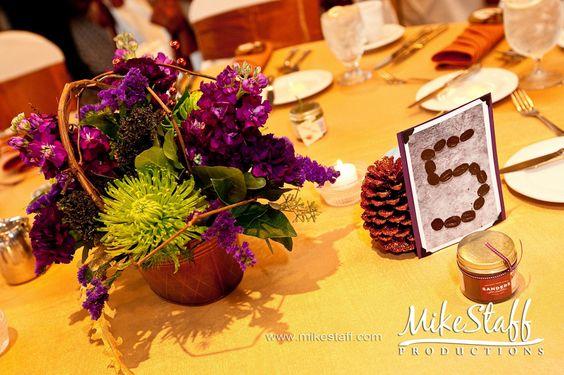 #wedding reception decorations #centerpieces #tablescapes #reception details #Michigan wedding #Mike Staff Productions #wedding details #wedding photography http://www.mikestaff.com/services/photography #short centerpiece #green flowers