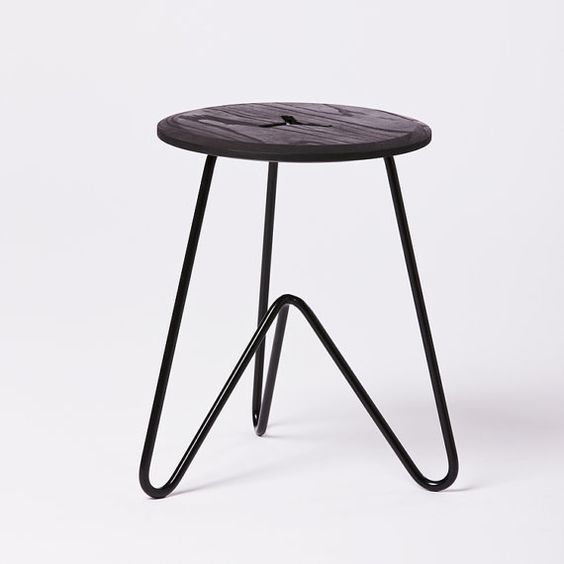 Low Stool: Black Ash Wood on Black Powdercoated by SuchAndSuchSite