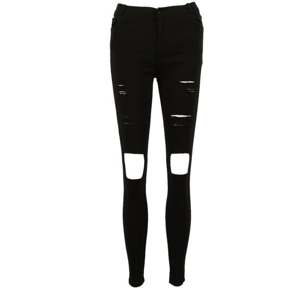 Choies Black Skinny Ripped Distressed Jeans (€15) ❤ liked on Polyvore featuring jeans, pants, bottoms, pantalon, ripped skinny jeans, skinny jeans, destroyed skinny jeans, torn skinny jeans and distressed skinny jeans