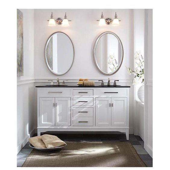 Home Decorators Collection Manor Grove 61 In Double Vanity In White With Granite Vanity Top In