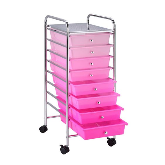8 Drawer Ombre Rolling Cart By Recollections Pink H