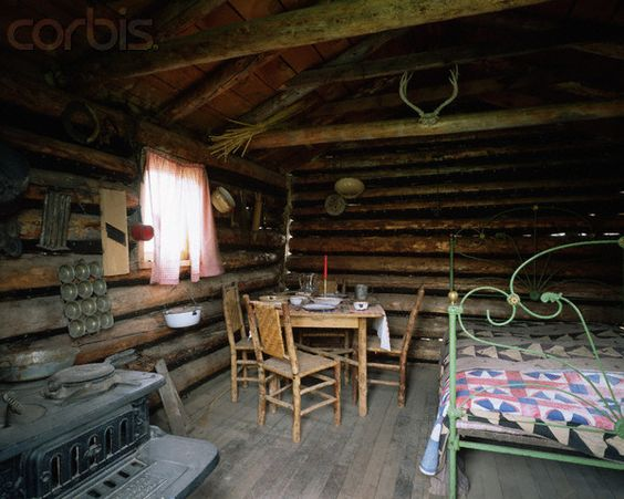 window curtains in old pioneer cabins   Furnished Interior of ...
