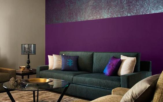 Beautiful Living Room With Purple Walls And Neutral Grey And Mauve In Furniture For Balance