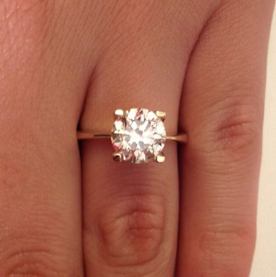 8 MM Solitaire Round Cut Diamond Engagement Ring 14k Rose Gold Over 925 Silver #giftjewelry22 #SolitaireRing