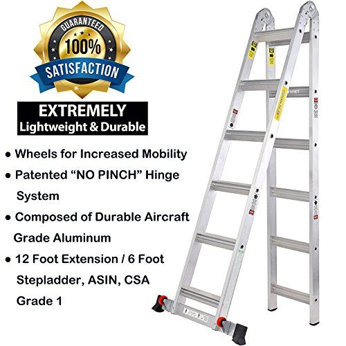 Toprung 12ft 2in1 Aluminum Extension Ladder Multi Purpose Step Ladder With Bulit In Wheels 300lbs Duty Rating For Sale Aluminum Extension Ladder Step Ladders Step Lighting