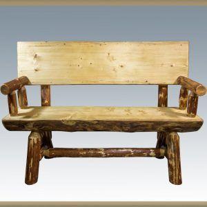 Rustic Pine Half Log Benches W Backs Sisters Log Furniture Wood Bench Outdoor Log Bench Log Furniture