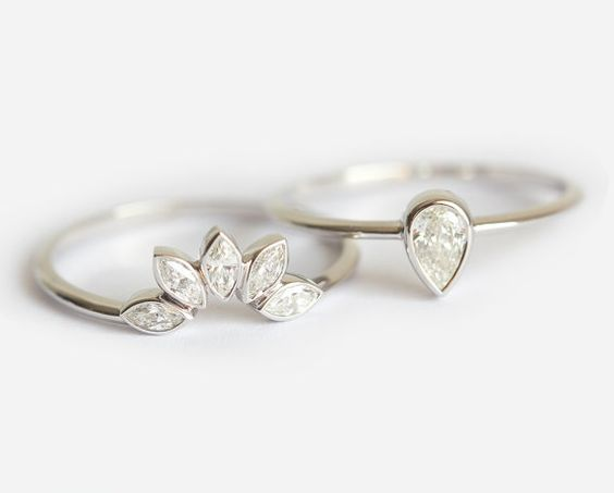 Bague de fiançailles diamant, Matching Marquise Diamond Wedding Band, poire poire bague de fiançailles, Unique mariage bague sertie, ensemble de mariage or 18k