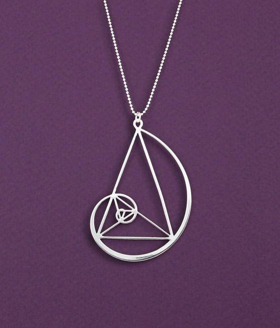 triángulo de oro collar de oro espiral - Fibonacci ciencia de colgante - regalo de geometría-