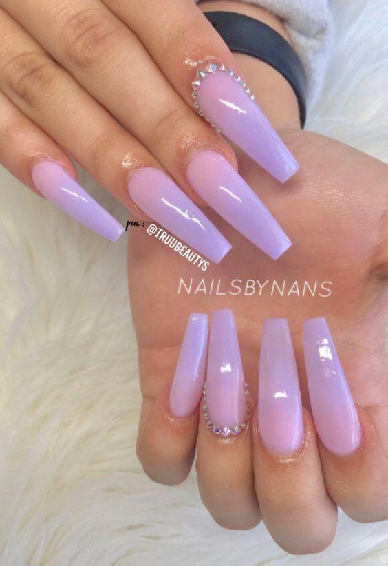60 Cute Coffin Nails Colors Designs Nailideastrends Purple Acrylic Nails Purple Ombre Nails Coffin Nails Designs