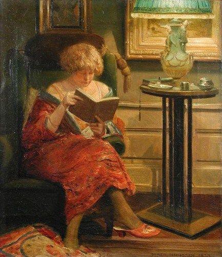 Jovem lendo na biblioteca, 1873 Peder Jacob Marius Knudsen (Dinamarca, 1868-1944) óleo sobre tela, 44 x 38cm