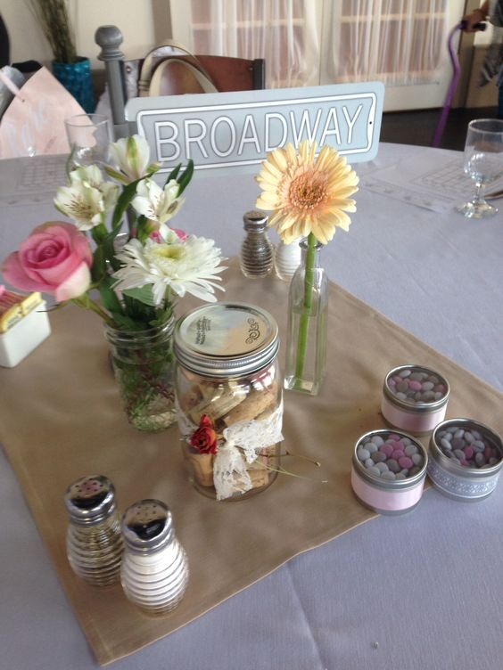 New York street sign centerpiece with a vintage feel. Cork screws were used as guest book with wishes for the bride and groom.