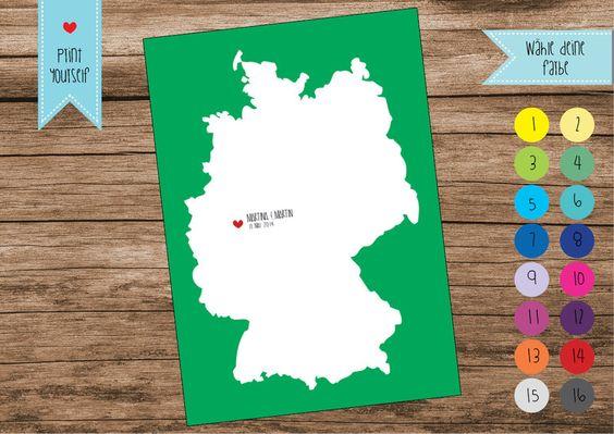 Gästebücher - Deutschlandkarte - Gästebuch - pdf - Wedding Tree - ein Designerstück von mimulusDesign bei DaWanda