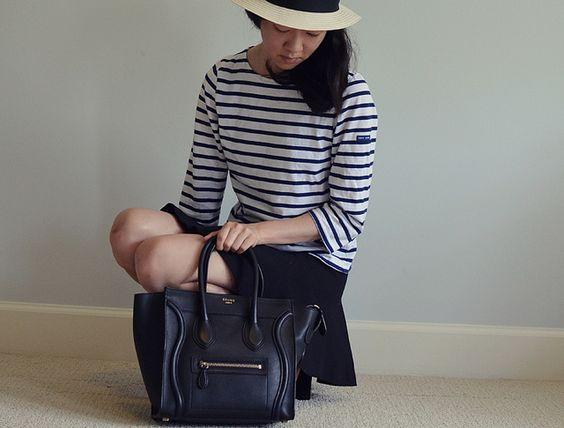 Micro luggage tote in black.