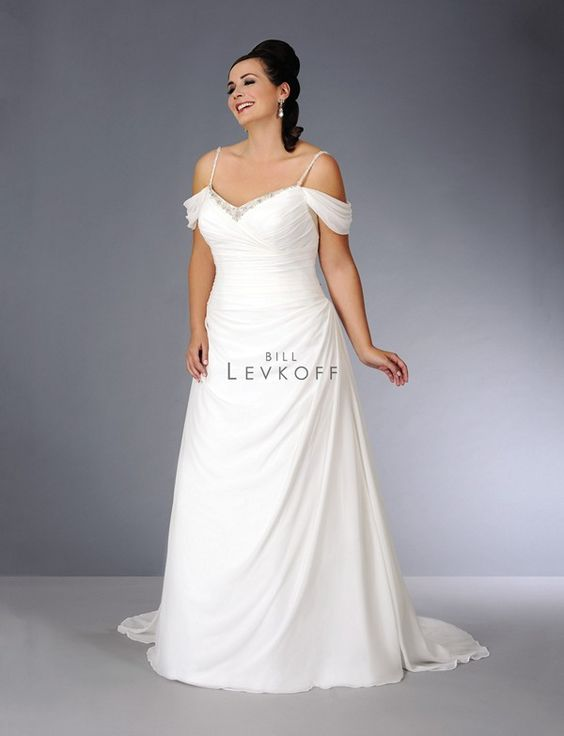 Bill Levkoff 71208 Wedding Dress off-the-shoulder Grecian drapery