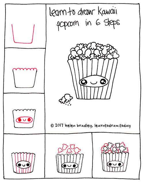 How To Draw Kawaii Popcorn In 6 Simple Steps Kawaii Drawings Cute Easy Drawings Cupcake Drawing