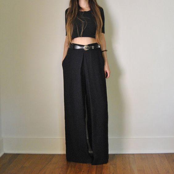 High Waisted Black Pants Wide Leg