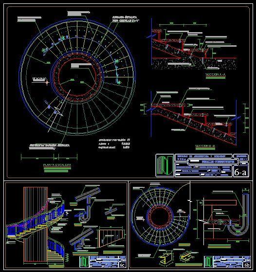 Detalles constructivos de escalera espiral dwgdibujo de for Detalles dwg