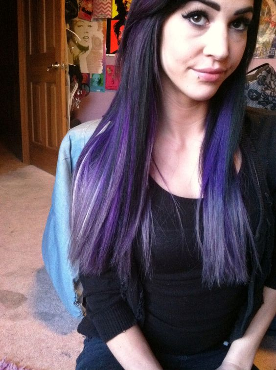 black purple to lavender ombr bright long hair color using pravana vivids in purple diluted - Coloration Hnn