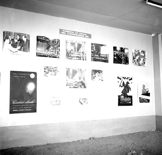 Photo Studio/Feb.52,A14f Posters and stills exhibited in the Czechoslovakian stall of the International film festival exhibition in Bomaby. Photo Division #bollywoodirect #bollywood #filmfestival #rarepic