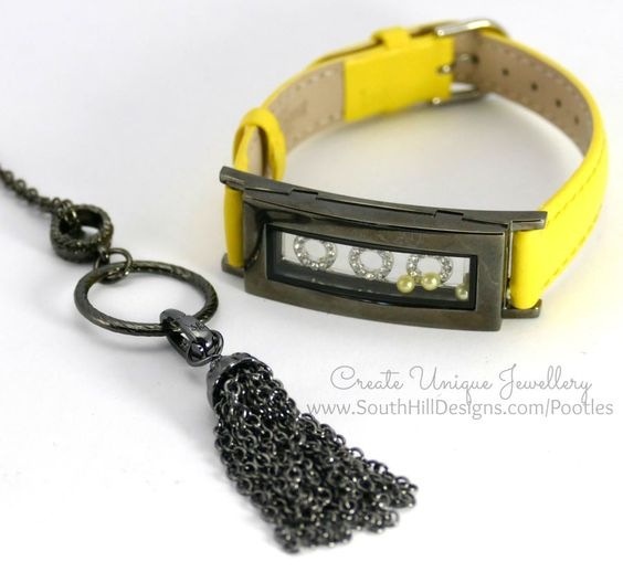 South Hill Designs - Bright Yellow and Octagons... Bracelet and Tassel