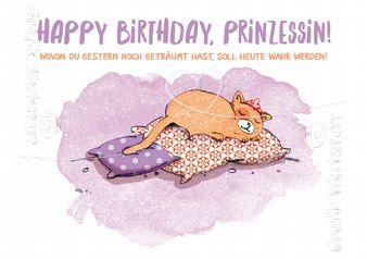 Art.Nr. 9763: Postkarte - Happy Birthday, Prinzessin!