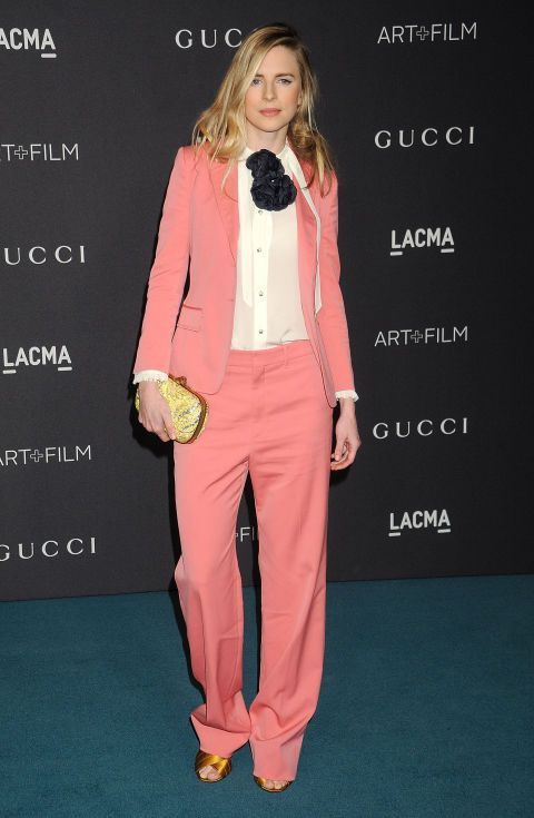 Who: Bret Marling When: November 07, 2015 Why: There were a million Gucci looks at their LACMA event this week, but Brit Marling's takes the cake. The slouchy cut of the suit, its bubblegum shade of pink, and her quirky accessories embody just a few of the reason's why fashion folks everywhere love Alessandro Michele's recent injection of youth into the brand.