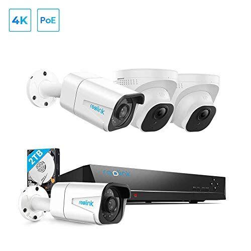 Reolink 8mp Poe Security Camera System 4pcs 4k Outdoor Security Camera With Audio 8ch Nvr With 2 Outdoor Security Camera Security Camera System Security Camera