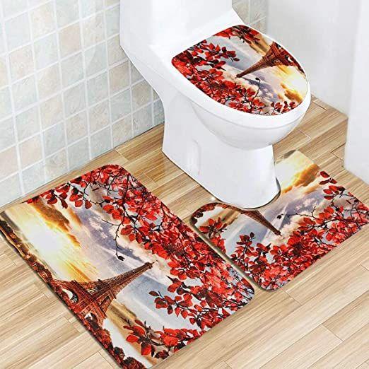 Bathroom Rugs Set 3d Tree And Eiffel Tower Dusk Printed Bathroom Waterproof Shower Curtain Anti Slip Bath Ma In 2020 Pedestal Rug Toilet Seat Cover Anti Slip Bath Mats