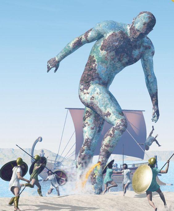 Talos- Greek Myth: a giant man made out of bronze. he was ...  Talos- Greek My...