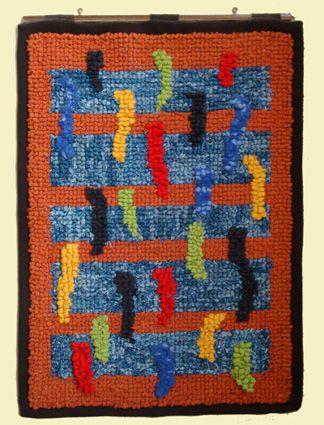 """MA.NI. rag rug """"Virgole""""  tappeto da parete ad uncino cm.50 x 70"""