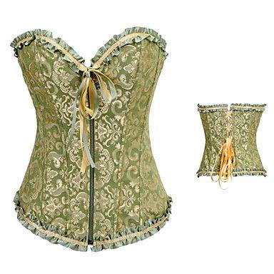 Groen+en+Gouden+Bloemen+Satijn+Aristocrat+Lolita+Corset+–+EUR+€+11.65