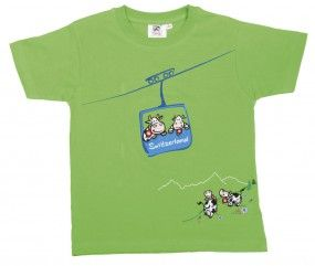 T-Shirt Seilbahn-Kuh, grün / T-Shirt cableway cow, green / A beautiful cableway T-Shirt for the guys. The boys like to play with cable cars and can do it with this T-Shirt to show it.