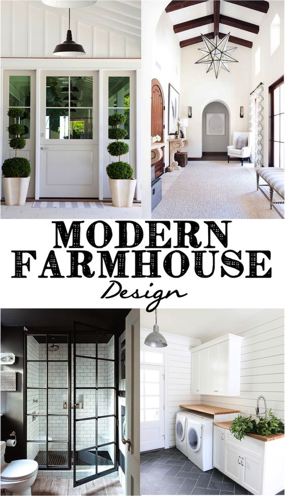 Modern farmhouse shower doors and industrial on pinterest - Modern farmhouse interior design ...