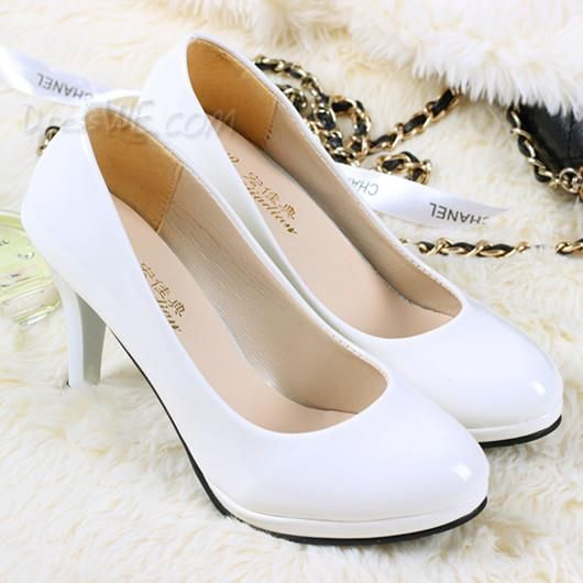 Classic White High Heels Closed Toe Cheap Wedding Shoes ...