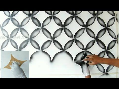 Wall Painting 3d Design Using Black Spray Youtube Pintura