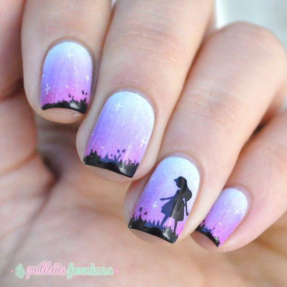 silhouette nail art with summer evening gradient nails - http://lapaillettefrondeuse.blogspot.be/2015/07/porque-te-vas.html
