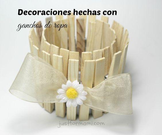 Decoraciones hechas con ganchos de ropa manualidades for Porta ganchos de ropa