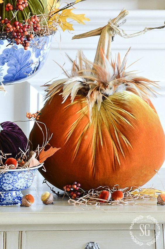 PUMPKINS IN VELVET ARRANGEMENT DIY- I'm sharing secrets for making the best arrangments and centerpieces. I'm sharing my secrets with you!