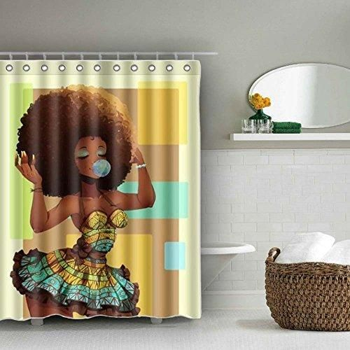 Afro Shower Curtain Waterproof Baixin Black Girl Shower Curtains