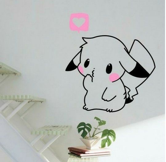 Pokemon Wall Decal (Cute Pikachu Removable Home Decor Vinyl Sticker)