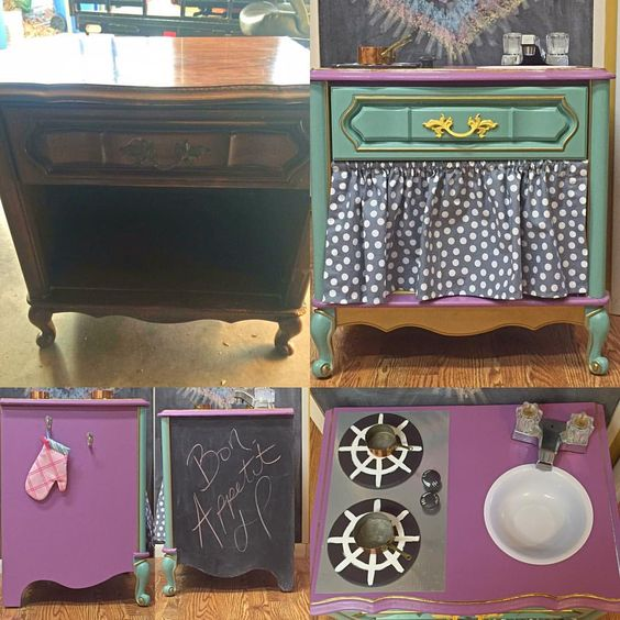 Before and After  #chalkpaint #chalkboard #playkitchen #doityourself #fiddesandsonswax #websterschalkpaintpowder