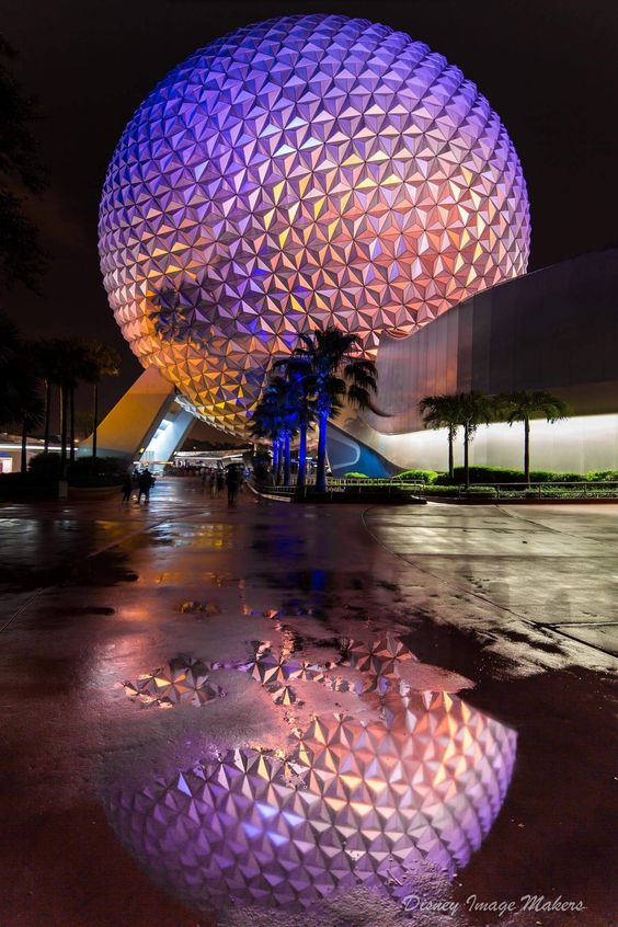 Epcot - One of Eric's stunning pictures of Spaceship Earth. This one can be found in the Epcot section of Capturing the Magic. #epcot #waltdisneyworld#disney #reflection #disneyphotography #capturingyhemagic