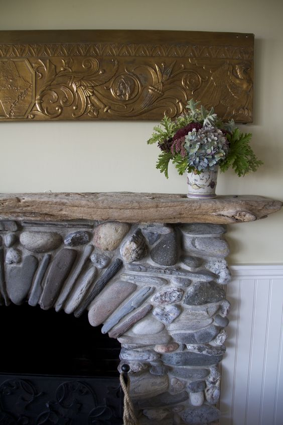 I Found Every Rock For My Fireplace On The Beach Near My House The Driftwood Mantle Too